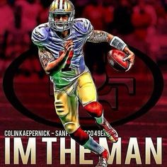 Colin kaepernick sf he's the man; Sf Forty Niners, Best Quarterback, Nfc Championship Game, Colin Kaepernick, Super Bowl, Captain America, The Man, Spiderman, Celebrity Style