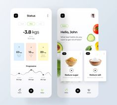 Healthy App Concept by Angel Villanueva for Fireart Studio - My Recommendations Ios App Design, Mobile App Design, Ux Design, Mobile Application Design, Mobile App Ui, User Interface Design, Make Design, Ui Design Tutorial, Wireframe