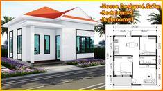 Small Modern House Plans, Modern Small House Design, Villa Design, Home Bedroom, Floor Plans, Bathroom, Outdoor Decor, Projects, Home Decor