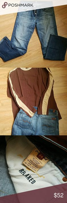 """MENS. 7 FOR ALL MANKIND JEANS 36  (w tee L) Beautiful crafted Jeans.   Popular brand and button fly detail.  Back pockets rusted brown threading   Inseam 33"""" boot cut The long sleeve tee R&R outdoors 100%cotton.  Dark brown with cream stripes down sleeves SUPER SOFT  BOTH like new,  no visible signs of wear! 7 For All Mankind Jeans Bootcut"""