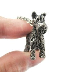 3D Detailed Schnauzer Shaped Dog Lover Animal Charm Necklace in Silver for Women $12.50 #dogs #puppies #animals #jewelry #pendants