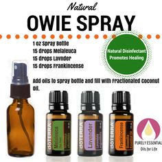 "Natural ""owie"" spray with essential oils. Naturally disinfect and promote healing!"