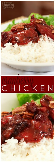 This Cranberry Chicken is baked to perfection in it's own savory sweet cranberry sauce with sweet bursts of craisins and toasted pecan pieces. via @favfamilyrecipz