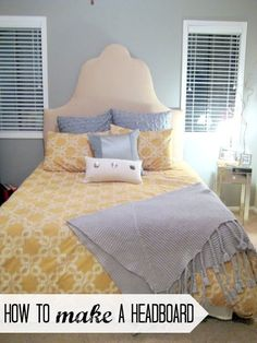 DIY fabric headboard. Great for some temporary class in your college dorm room