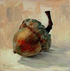 """ACORN BY ARTIST UNKNOWN. We tend to see common objects as bland and certainly not beautiful if we really see them at all. An artist's eye and creativity can bring out the beauty in apples to tea cups, old tools to junk piles as still life art allowing us to focus on the little pictures most overlook. Now scroll through Pinterest pins of """"Common Things As Art"""" which have impressed me the most. SEE MORE COMMON THINGS AS ART NOW.... https://richard-neuman-artist.com/collections/90111"""
