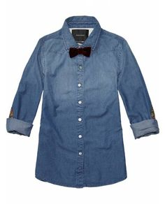 Preppy Shirt With Floral Elbow Patches > Womens Clothing > Shirts at Maison Scotch - Official Scotch & Soda Online Fashion & Apparel Shops
