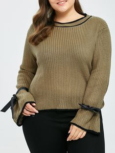 c73a0e1a0fbd Plus Size Crew Neck Bowknot Knit Sweater