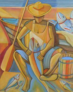 Releitura de o Pescador - Jurandi Assis por Fredi Ambrogi Ateliê Técnica mista http://www.elo7.com.br/quadro-pescador-releitura-jurandi-assis/dp/433281