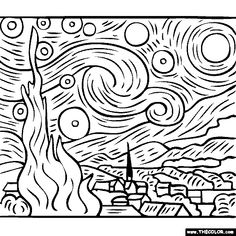 free coloring pages of Vincent Van Gogh paintings – Starry Starry Night. You …, # paintings free coloring pages of Vincent Van Gogh paintings – Starry Starry Night. Paintings Famous, Van Gogh Paintings, Famous Artists, Van Gogh Drawings, Vincent Van Gogh, Desenhos Van Gogh, Van Gogh Arte, Types Of Painting, Free Coloring Pages