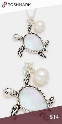 """Mother of Pearl Turtle Pendant Necklace • Color : Mother of Pearl, Antique Silver • Theme : Reptile, Sea Life  • Necklace Size : 18"""" + 3"""" L • Pendant Size : 1.1"""" X 1.25"""" • Mother of pearl turtle pendant necklace Jewelry Necklaces"""