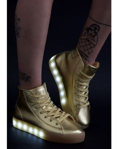 Gold Lite Up Sneakerz    #DollsKill #sneakers #gold #lightup #leather #EDC