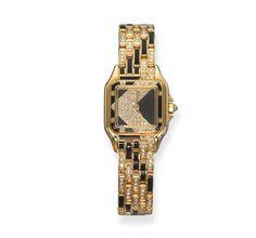 Black Enamel and Diamond 'Santos' Wristwatch, Cartier