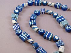 Blue Geometric Necklace. Handcrafted polymer clay beads. Debbie Martin