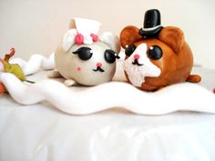 Hamster Wedding Cake Topper Mr and Mrs Cake by MagicalGifties