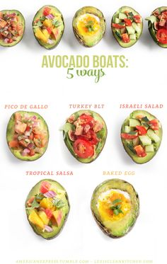 Avocado Boats: 5 Ways #healthy #snack #paleo #vegan #ad