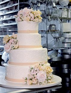 Classic yellow cake by Sylvia Weinstock Wedding Cake White Wedding Cakes, Elegant Wedding Cakes, Elegant Cakes, Beautiful Wedding Cakes, Gorgeous Cakes, Wedding Cake Designs, Wedding Cupcakes, Wedding Cake Toppers, Amazing Cakes