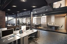 A refrshing modern office design. Love the open space and clean lines. Loft Studio Space | Office Architecture.