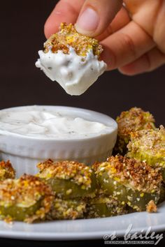 Baked Pickle Chips.....crunchy + salty, and dipped in a Greek yogurt ranch dressing. So flavorful, and wayyyy less indulgent.
