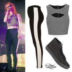 """206630ff6b6450 Hayley Williams wore a black and white Topshop outfit and theatrical """"mask""""  makeup at the first show of Paramore s spring tour last night in Houston"""
