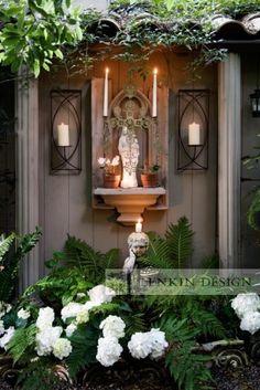 outside - prayer room  #religious #pinterestingdesign Outdoor Rooms, Outdoor Gardens, Outdoor Decor, Outdoor Living, Wood Gardens, Dream Garden, Garden Art, Marian Garden, Catholic Altar