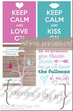 Four custom designed Valentine's Day prints, including; Subway Art, Keep Calm, & Love Birds - all free printables! Printable Labels, Printable Art, Free Printables, Project Life, Ideas Scrap, Decoupage, Ideias Diy, Valentine Day Love, Free Prints