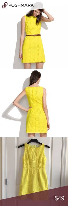 """Madewell Eyelet Trail Dress In Neon Yellow $160 🦄 Size 10. Originally $160. """"Our affinity for lace is rivaled only by our affinity for eyelet, so we decided to put the two together and create this beyond-the-beyond shiftdress."""" 🦄 Madewell Dresses"""