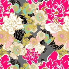 Jungle Passion mustard turquoise pink black fabric by art_is_us on Spoonflower - custom fabric