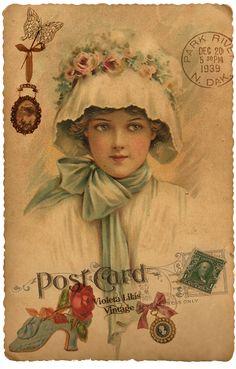Violeta lilás Vintage: Post Card Damas Antigas - Vitorianas