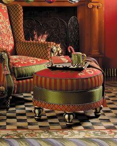 mckenzie childs furniture images | MacKenzie-Childs Red Harlequin Ottoman $2,275.00 | furniture
