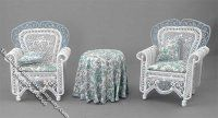 Miniature White 3 Piece Outdoor Furniture Set for Dollhouses