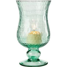 "Small Ice Blue Glass Hurricane Candle Holder.  4"" D x 7.5"" H. Antique style in ethereal blue sea glass. Mix and Match with our many other vintage styles. For flowers or our use with our Flameless Tea Lights or Pillar Candles."