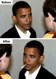 Fake - The president gets altered again. The original image is the top one. He doesn't smoke any more(as far as we know)...