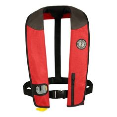 Mustang Deluxe Adult Inflatable - Automatic - Universal - Red/Black/Carbon