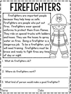 Community Helpers: Firefighter Best Picture For Reading Comprehension sequencing For Your Taste You are looking for something, and it is going to tell you exactly what you are looking for, and you did 2nd Grade Reading Worksheets, First Grade Reading Comprehension, Third Grade Reading, Reading Comprehension Worksheets, Reading Fluency, Reading Passages, Kindergarten Reading, Reading Skills, Teaching Reading