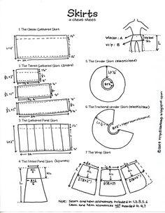 Skirts --a cheat sheet for sewing