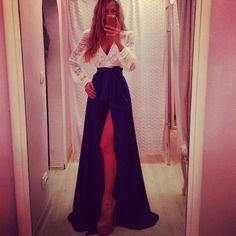 Nova moda 2014 mulheres roupas escritório saia ocasional saia longa em Saias de Roupas & acessórios no AliExpress.com | Alibaba Group