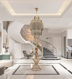 Neo Classic Reception on Behance Home Stairs Design, Home Interior Design, Casa Park, Contemporary Hallway, Luxury Staircase, Plafond Design, Classic House Design, Classic Ceiling, Decor Home Living Room
