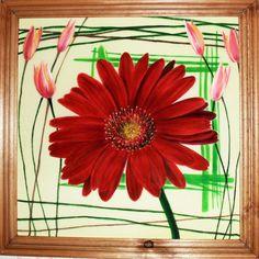 Original Watercolor Painting on silk batik art gerbera red