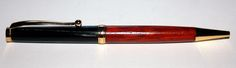 Streamline Pen, Gold Plating, Cross Style Refill  Dressed in Padauk (West Africa) and Buffalo Horn. £14:99  Turned by Steve Bond