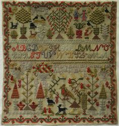 19th Century Motif Sampler by Mary Ann Rowlands Aged 10 1872 | eBay
