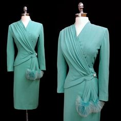 RESERVED****Vintage 1940's 40's Lilli Ann Aqua Blue Skirt Suit with Asymmetrical Jacket and Fur Puff XS