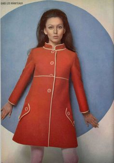 Oh, the flare '60s coat, yes!  Mine  was powder blue with a sleeveless skimmer dress by Mary Quant.