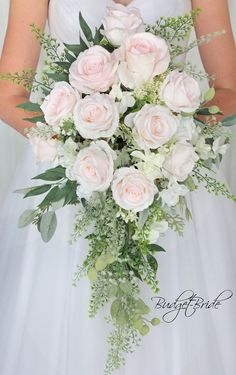 Blush Pink Davids Bridal Cascading teardrop bouquet with foliage greenery