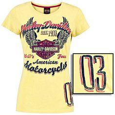 "Harley-Davidson Women's ""Worlds Finest"" Bar & Shield Yellow T-Shirt R000228 Harley-Davidson http://www.amazon.com/dp/B00J34WANY/ref=cm_sw_r_pi_dp_vsj9tb036H6PM"