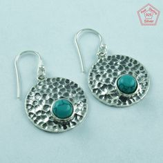 SilvexImages 925 Sterling Silver Turquoise Hammered Earrings 5136 #SilvexImagesIndiaPvtLtd #DropDangle