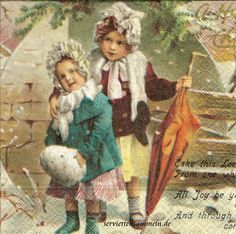 One paket of 20 nostalgic decoupage paper napkins, Two Girls Winter Scenery Napkin Decoupage, Paper Napkins For Decoupage, Decoupage Ideas, Vintage Pictures, Vintage Images, Decorative Napkins, Winter Scenery, Hobbies And Crafts, Vintage Cards