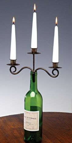 Antiqued Bronze 3-Taper Wine Bottle Candelabra
