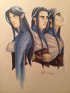 Finwe, Feanor, Fingolfin. Although I pictured Feänor looking less like his brothers due to having a different mother.