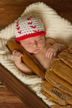 Crochet Baseball Hat newborn baseball photo by GoodKarmaCrochet