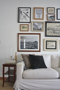 Decorating Advice For The Decorating Challenged Living Room Art Above Couch - Our Living Room Gallery Wall.Living Room Art Above Couch - Our Living Room Gallery Wall. Live edge table live edge coffee table example of custom Living Room Decor Photos, Living Room Sofa, Home Living Room, Living Area, Dining Room, Hanging Pictures On The Wall, Above Couch, Living Room Inspiration, Interior Inspiration